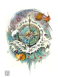 """I've decided on a compass rose tattoo with my children's initials replacing the standard N/W/S/E - I could add the text """"You keep me on course"""". (wind rose tattoo commission by *Asfahani on deviantART) Future Tattoos, New Tattoos, Tatoos, Water Tattoos, Tattoo Rose Des Vents, Tattoo Drawings, I Tattoo, Rose Drawings, Compass Drawing"""