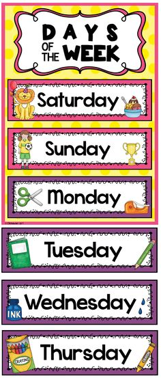 Days of the Week Headers: This is a classroom tested resource aimed at early learners. Each header includes classroom resource images. Suitable for PreK - Classroom Rules, Classroom Posters, Classroom Design, Classroom Displays, Kindergarten Classroom, Classroom Organization, Classroom Management, Preschool Learning, Learning Activities