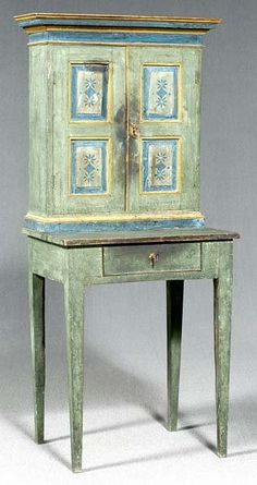 132: Folk Art Cabinet On Stand, On
