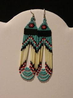 Native American Beaded Earrings Turquoise Quill by LakotaCharm, $18.00: