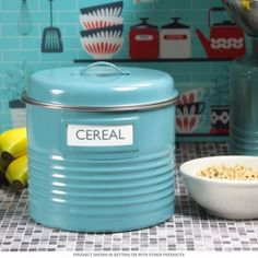Kitchen Canister Turquoise Large with Labels