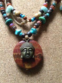 Beaded Buddha Necklace/hippie/yoga by RCnKMacrame on Etsy, $18.00