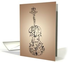 Music / Instruments card: Violin Flourish, Black on Tan Greeting Card by MissPrinteditions