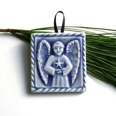 Christmas Tree #Ornament  Angel holding Star  by LesperanceTile, $10.00