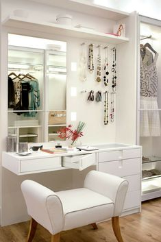 If you want to have all your beauty products and makeup near your clothes, then you must invest in a vanity. [Closet Organization Ideas, Dream Closet Ideas, Closet Room Ideas, Closet Vanity Ideas, Make Up Vanity Closet, Organizing Closet Ideas, Closet Storage Ideas, Closet Seating Ideas]