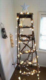 Ladder Christmas Tree is very fun and you can decorate it with your imagination. Although lots people love a traditional tree,they may also like Ladder Christmas Tree. You can save … Coastal Christmas Decor, Beach Christmas, Christmas Room, Noel Christmas, Simple Christmas, Coastal Decor, Vintage Christmas, Christmas Crafts, Christmas Decorations