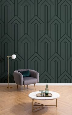 With clean lines and a uniform geometric print, this dark green Art Deco wallpaper is sure to make a statement. Art Deco Living Room, Art Deco Bedroom, Interiores Art Deco, Interiores Design, Art Deco Design, Wall Design, Art Deco Wallpaper, Geometric Wallpaper, Estilo Art Deco
