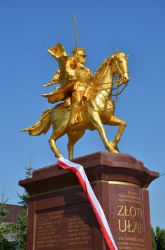 The Golden Ułan monument. This is the first in Poland and one of the few in Europe. Monument is gilded bronze, commemorating the 11th Cavalry Regiment's charge into the battle of Kałuszyn, 12 September 1939.