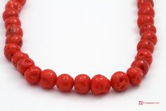 Mediterranean Red Coral Necklace round mush 5½-7mm in Gold 18K Collana Corallo rosso del Mediterraneo pallini mush 5½-7mm in Oro 18K