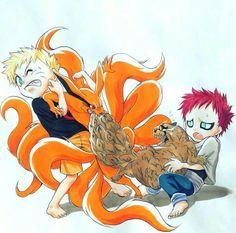 Naruto and Kurama and Gara and Shukaku