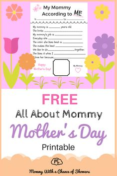 All About Mommy - Mother's Day craft. Easy to do, perfect for toddlers, kindergarten and grade school kids. It's the Mother's Day gift mom's will want to receive every year! free printable!