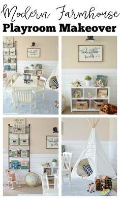 Little Vintage Nest | Modern Farmhouse Playroom Makeover. Gorgeous farmhouse style kids playroom.