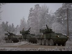 Tactical maneuvers: M1128 Mobile Gun System (Stryker armored fighting vehicle) in Grafenvyor, Germany