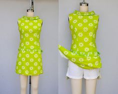 60s Lime Green Romper Mini Dress Mini Skort Dress by ItaLaVintage