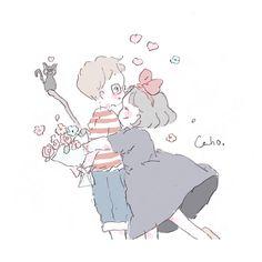 Cartoon Kunst, Anime Kunst, Cartoon Art, Anime Art, Anime Girl Pink, Studio Ghibli Movies, Cute Kawaii Drawings, Cute Memes, Cute Anime Couples