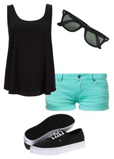 """""""Black & Teal"""" by bridgette19 ❤ liked on Polyvore featuring TWINTIP, Wallis, Vans and Ray-Ban"""