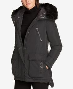 Dkny Faux-Fur-Trim Quilted-Back Puffer Coat, Created for Macy's - Gray XXS