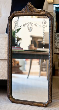 Victorian Etched Wall Mirror w/ Wood Frame