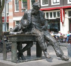 Theo Thijssen - The schoolmaster - Amsterdam Bronze Sculpture, Sculpture Art, Statues, Artistic Installation, Writers And Poets, Amsterdam Netherlands, Public Art, Art And Architecture, Book Art