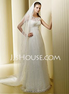 Wedding Dresses - $217.99 - A-Line/Princess Scoop Neck Sweep Train Satin  Tulle Wedding Dresses With Lace  Beadwork (002004543) http://jjshouse.com/A-line-Princess-Scoop-Neck-Sweep-Train-Satin--Tulle-Wedding-Dresses-With-Lace--Beadwork-002004543-g4543