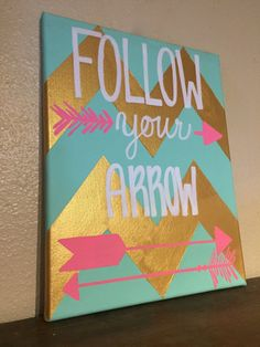Follow Your Arrow Mint Gold Chevron and Pink by RestoreandSparkle