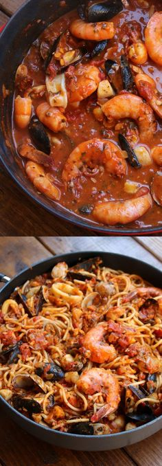 Seafood spaghetti {Tallarines con mariscos}. Loaded with sweet mussels, shrimp, scallops, clams, and calamri in a rich, spicy tomato sauce. Heaven!