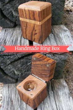 Nice tutorial on making this beautiful handmade ring box. Here's the tutorial: http://www.fouroakscrafts.com/handmade-ring-box/