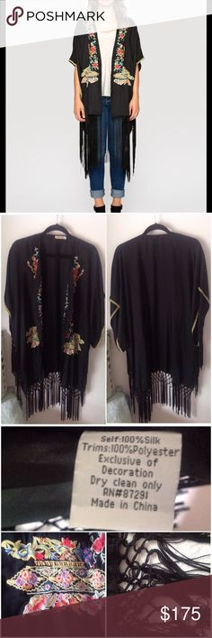 Johnny Was Anabelle Fringe Kimono The Johnny Was Anabelle Fringe Kimono is the ultimate bohemian statement piece! This luxe black silk kimono jacket features fringe and vintage-inspired floral embroidery details for a boho chic look. Open draped front, short dolman sleeves, knee length. Excellent used condition. // Cover photo from Johnny Was website to show fit, all other images are of actual item for sale! ✌️ Johnny Was Tops