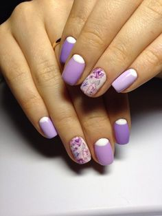 Beautiful nails, Elegant nails, Festive nails, flower nail art, Gentle half moon nails, Half-moon nails ideas, Luxury nails, Nail designs with purple