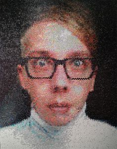 Bradley Hart.  Each bubble wrap bubble is filled with paint.  Amazing work!