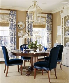 .China blue print drapes and bamboo shades! Call Budget Blinds to see our Inspired Drapes today!