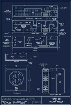 Blueprints for Scrooge McDuck's money bin by Don Rosa, pg. 1