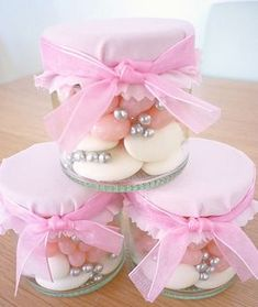 Pink candies in jar