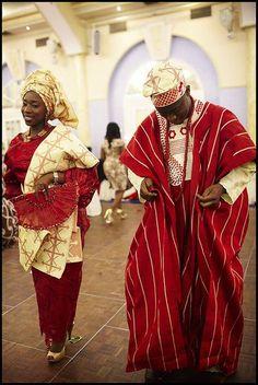 Nigerian (Yoruba) Traditional wedding attire.      Bride wears Iro and Buba      Groom wears an Agbada
