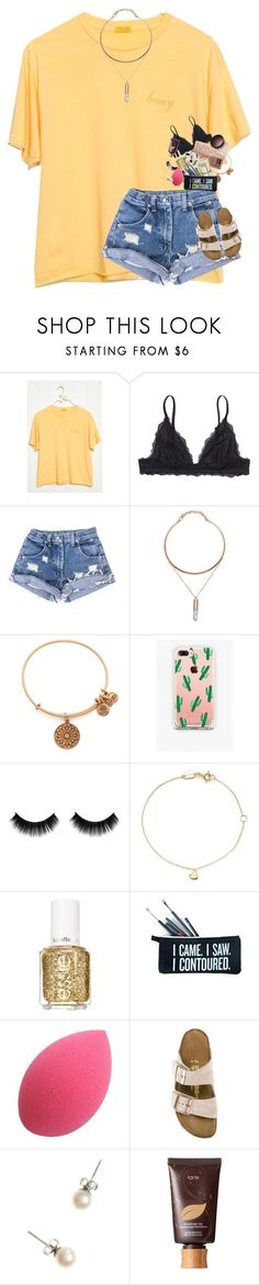 """"" by supremegrier ❤ liked on Polyvore featuring Monki, Urban Decay, Laura Mercier, Alex and Ani, The Casery, Estella Bartlett, Essie, SugarLuxeShop, Birkenstock and J.Crew"