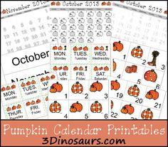 Free Pumpkin Calendar Printable Set