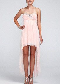 Straight out of a modern day fairy tale, this gorgeous high low chiffon dress will make you feel like the princess you are!  Strapless bodice features sparkling beaded detail.  High low chiffon skirt is ultra chic and adds movement and creates dimension.  Fully lined. Back zip. Imported polyester. Professional spot clean. Available in Plus sizes as Style 9351K62W.