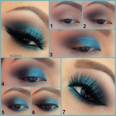 Aqua-smokey eye♡