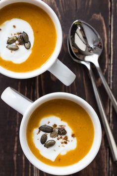 butternut squash soup - made with apples; top with a dollop of sour cream