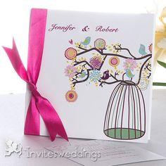 Cute Birds Singing in the Garden Wedding invitation IWGY015