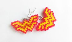 Wonder Woman Earrings - Comic Book Earrings, Hook or Clip-On, Geek Gifts, Pixel Jewelry, Nerd Gifts, Mini Perler Beads, Mini Hama Beads