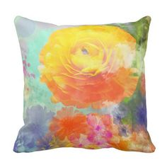 Artistic colourful floral pillow