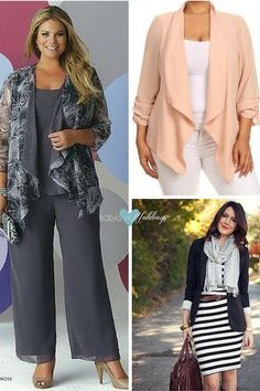 Para una ocasión especial este conjunto de Ursula de Switzerland en gris con un estampado que le da un toque de color. Un blazer suelto en color peach sobre un conjunto de pantalón y blusa o un vestido y afina tu figura. No todas las fiestas de boda son formales y con este conjunto para una boda en invierno lucirás moderna y mas estilizada. Curvy Fashion, Plus Size Fashion, Boho Fashion, Fashion Looks, Fashion Outfits, Womens Fashion, Plus Size Chic, Crazy Outfits, Bohemian Mode