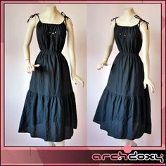 Vintage FAB 1970s Cheesecloth Frilled Tiered Black Cut Out BOHO Sun Dress - UK10