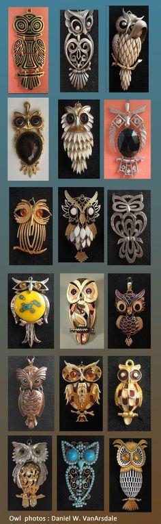 Retro Owl Pendant Designers of in Above Photo Trifari, Tancer, Razza, Sao, Esienberg, Winard II, Gold Crown Inc, D'Orlan, Kramer
