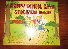 Happy School Days Vintage Sticker Book 1940