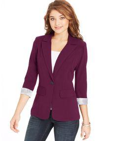 BCX Juniors' Cuffed Boyfriend Blazer - Juniors Jackets & Vests - Macy's