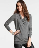 Cowl Neck Tunic Sweater - Cast in a rich palette of flattering hues, this beautifully draped cowl neck pairs perfectly with the season's slim fit styles for one of our favorite wear-now silhouettes. Cowl neck. Long sleeves. Ribbed cuffs and hem.
