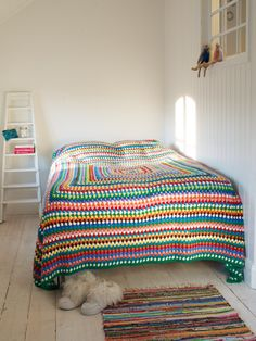 granny square motif crochet afghan throw lap robe blanket