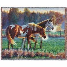 Pasture Buddies is a scene with two hoses in a lush green pasture in the early morning. Horse Furniture throws are 100% cotton, made in the USA. Woven throw blankets are machine washable & tumble dry. Tapestries with hroses can be personalized.